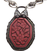 Antique Signed Old China & Cinnabar Pendant Necklace