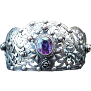 Antique Signed 800 Silver & Amethyst Cuff Bracelet