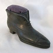 Antique Victorian Era Metal High Top Shoe Pin Cushion