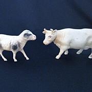 Set of Two Vintage Celluloid Farm Animals
