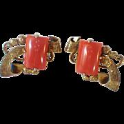 Vintage Silver Vermeil & Coral Earrings