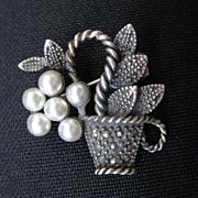 Vintage Sterling Silver,  Pearl & Marcasite Basket Pin