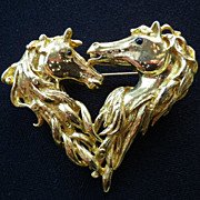 Vintage Gold Plate Horse Head Heart Brooch