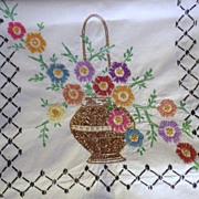 Vintage Hand Embroidered Summer Basket Floral Linen Runner