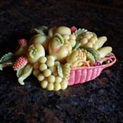 Vintage Celluloid Basket of Fruit Brooch