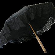 SOLD Antique Black Silk & Lace Parasol