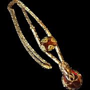 Vintage Art Nouveau Amber Glass & Brass Pendant Necklace