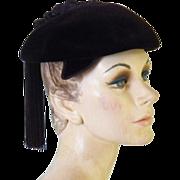 Vintage Women's Dark Brown Velvet Hat Made in France