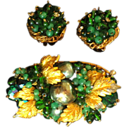 Vintage Signed DeMario Demi Parure - Brooch & Earrings