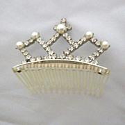 Vintage Signed Faux Pearl & Rhinestone Tiara Hair Comb