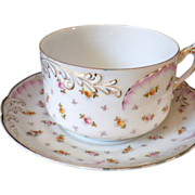 Antique Signed Hand Painted Porcelain Breakfast Cup & Saucer
