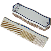 "Vintage Signed ""TUSKELOID"" Brush & Comb Set"