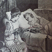 Vintage Framed Print of Two Young Girls