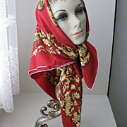 Vintage Silk Scarf with Hunt Theme