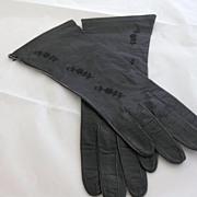 """Vintage """"Barra"""" Black Leather Gloves"""