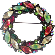 "Vintage Large Signed ""ART"" Christmas Wreath Brooch"