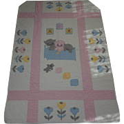 Vintage Hand Sewn Child or Baby Quilt