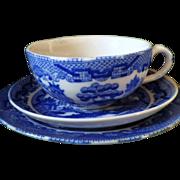 SALE Vintage Bone China Blue Willow Children's Trio
