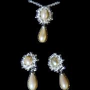 Vintage Signed Christian Dior Glass Pearl & Rhinestone Demi Parure
