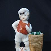 SALE Vintage Porcelain Match Holder & Striker