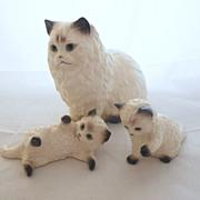 SALE Vintage Hagen Renaker Set of Three: Large Cat & Kittens