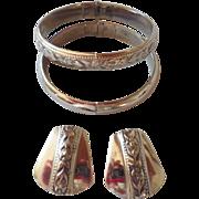 Vintage Signed Whiting and Davis Set - Bracelets & Earrings