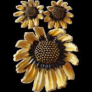 Vintage Signed BSK Enamel Sunflower Demi Parure Set