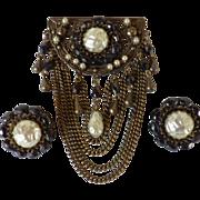 Vintage Swag Brooch & Matching Earrings Demi Parure