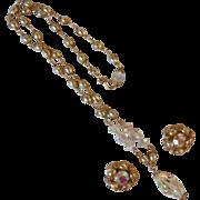 Vintage Signed Hollycraft Crystal, Rhinestone & Glass Pearl Demi Parure