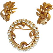 Vintage Brushed Gold Tone & Simulated Pearl Demi Parure