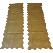 SOLD Vintage Pair of Ecru Linen Runners