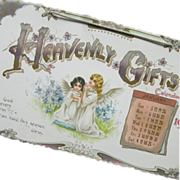 Edwardian Art Nouveau 1902 Heavenly Gifts Hanging Calendar Color Floral Little Girl Angels ...