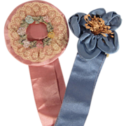 Two Edwardian Flapper Boudoir French Silk Ribbon Work Sashes