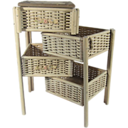 Antique Reed Toy Furniture Wicker Barbola Doll Cabinet Sewing Rare Small Size