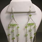 Sterling Silver Peridot Chandelier Earrings