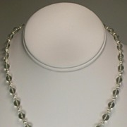 Sterling Silver Green Amethyst Graduated Bead Necklace