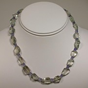 Green Amethyst and Iolite Sterling Silver Necklace