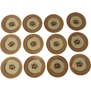 Set of 12 Hand Painted Limoges Rose Bouquet Cabinet Plates