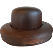 Milliner's Wood Hat Block- Form- Mold- Homburg Shape