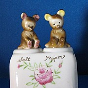 REDUCED Vintage Bear Cubs Nodder Porcelain Salt and Pepper Shaker Set