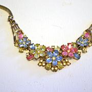 "TRIFARI ""Fragonard"" Pastel Flowers Necklace Basketweave"