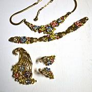 "SALE TRIFARI ""Fragonard"" Pastel Flowers Parure of Necklace, Bracelet & Earrings"