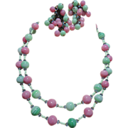 REDUCED Miriam Haskell Glass Marble Pink &  Mint Green Bead Necklace & Cascading drop