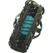 REDUCED W.J. Panteah Zuni Black Onyx and Turquoise ring size 5 1/2