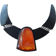 SALE Black Leather Amber Collar necklace