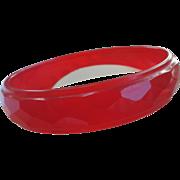 SALE Red Bakelite Prystal Faceted Bangle bracelet