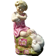 Royal Worcester Child and Rabbits Figurine