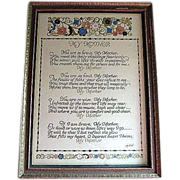 "Vintage ""Mother"" Motto in Period Frame  Artist Sgnd MAH"