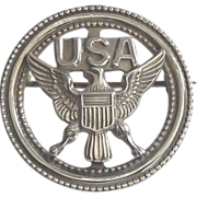 USA Eagle Sterling with Gold Wash Circle Brooch