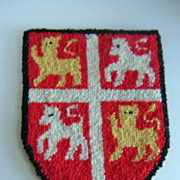Cheticamp Nova Scotia Hooked Rug Coat of Arms of Newfoundland